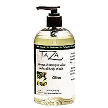 Premium Taza Natural Omega-3 Hemp & Aloe Olive Body Wash, 16 fl oz (473 ml) ♦ For Soft Smooth Skin ♦ Contains: Omega-3 Hemp Seed Oil, Aloe Seed Juice, Chamomile Flower, White Willow Bark Extract, Glycerin