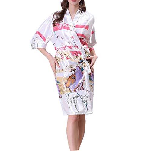 Verano Mangas Pijamas Camisón Seda Solo Simulación Damas Servicio Belleza White Tamaño De Bata Domicilio Gran A wqz01FEnx