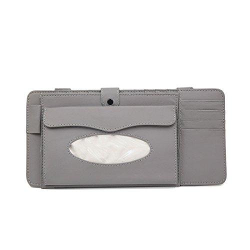 uxcell Gray PU Leather Car Sun Visor Multifunctional Double-deck CD Holder Tissue (Double Cd Visor)