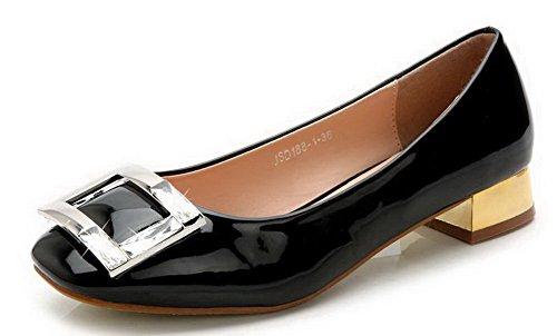 AalarDom Damen Niedriger Absatz Lackleder Weiches Material Ziehen Auf Pumps Schuhe Schwarz-Zirkon