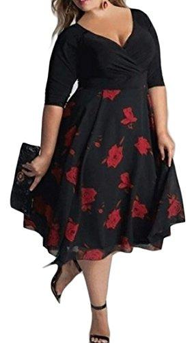 Profonde Cromoncent Femmes V-cou Manches 3/4 À Pois Imprimé Floral Taille Empire Robe De Soirée Rouge Noir