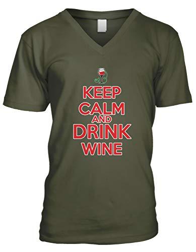 (Amdesco Men's Keep Calm and Drink Wine V-Neck T-Shirt, Moss Green Large)