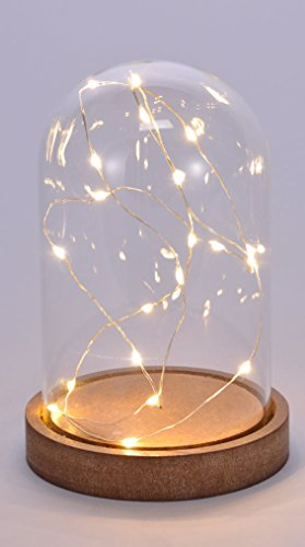 Deko Glasglocke mit 20 LED - Micro Lichterkette im Glas - Draht Lichterkette / warmweiß (16 cm)