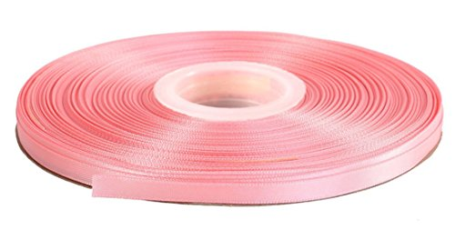 DUOQU 3/8 inch Wide Double Face Satin Ribbon 50 Yards Roll Multiple Colors Pearl Pink