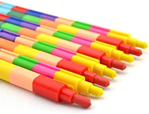 f/ür Kinder 6 Farben seitlich und oben zum Zusammenbauen von Buntstiften Stapelbare Buntstifte