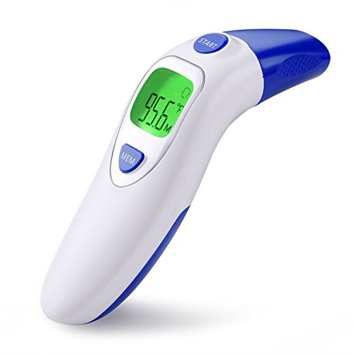 Digital Infrared Forehead and Ear Thermometer (Dual Mode), CE & FDA Approved Medical Fever Thermometer for Baby Adult Child Todder with Fever Alarm, Non Contact/Touch, 20 Groups Memory