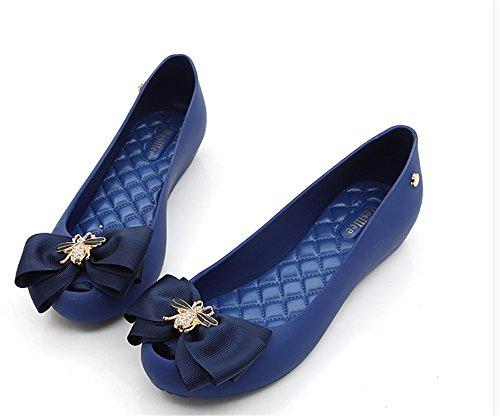 pit4tk Toe On Peep Sweet Shoe Jelly blue Colorful Women's Shoes Flats blue Waterproof Slip 0n0rvYwq