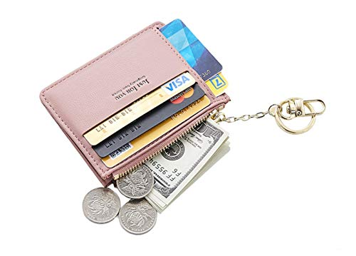 Lady Key Ring - Small Wallets for Women, Slim Pocket Wallet Lady Mini Purse Leather Card Case Short Wallet with Keychain (A-Pink)