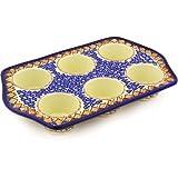 Polish Pottery Muffin Pan 14-inch Coral Diamonds UNIKAT