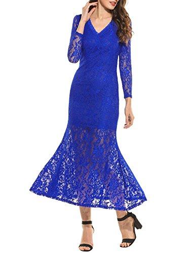Langes kleid mit spitze dunkelblau