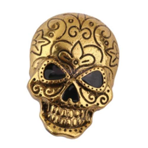 Badges - Nhbr Gothic Punk Halloween Vintage Retro Skull Skeleton Brooch Pin Decor Jewelry Gift Antique Gold - Clip Cases Gym Metal Third For Stickers Cute Detective Mens for $<!--$7.99-->
