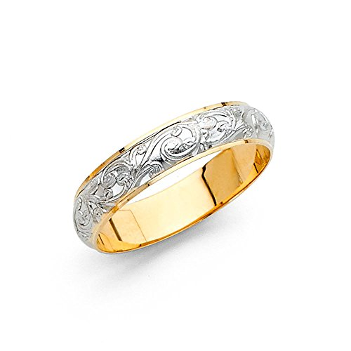 Solid 14k Yellow White Gold Band Wedding Ring Filigree Dome Curve Two Tone Style Men Women 4 mm, Size 7 by GemApex