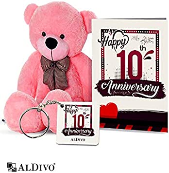 alDivo Happy 10th Anniversary Gifts of Soft Teddy Bear, Anniversary Key Ring and Anniversary Wishes Greeting Card (MKD10435)