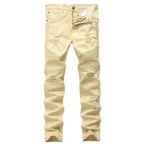 Casual Stretch Giovane Con Skinny Hip Saoye Uomo Pantaloni Jeans Hop Distrutti Denim Retrò Fashion In Dunkelblau Fori Da nP8Fp7