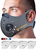 N99 Dust Mask by FIGHTECH | 4 Activated Carbon N99 Filters & 2 Air Valves | Dust-proof Respirator Face Mask | Protects from Dust, Allergy and Pollution | Woodwork & Winter Outdoor Activities (GRY)