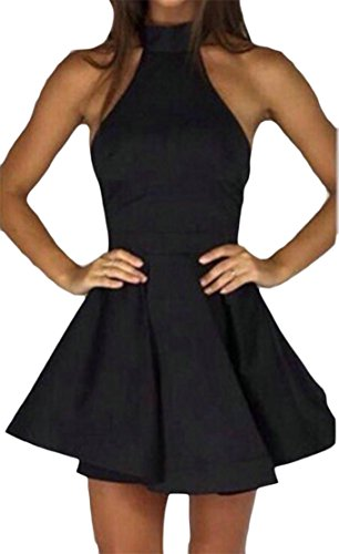 Cromoncent Femmes Sexy Dos Nu Bandage Sans Bretelles Plage Dos Nu Balançoire Mini-robe Noire