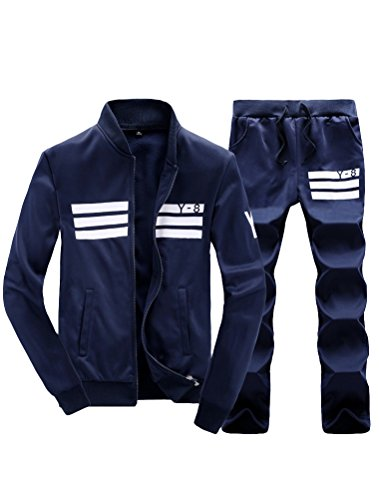 (Lavnis Men's Casual Tracksuit Long Sleeve Running Jogging Athletic Sports Set Blue M)