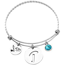 KUIYAI Silver Initial Charm Bracelet Expandable Monogram Bangle with Birthstone