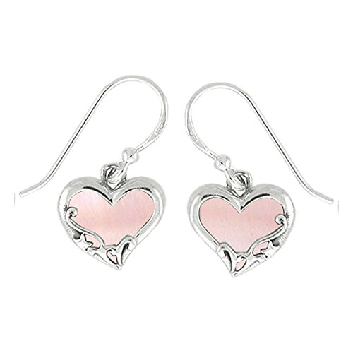 Boma Sterling Silver Pink Shell Heart Earrings