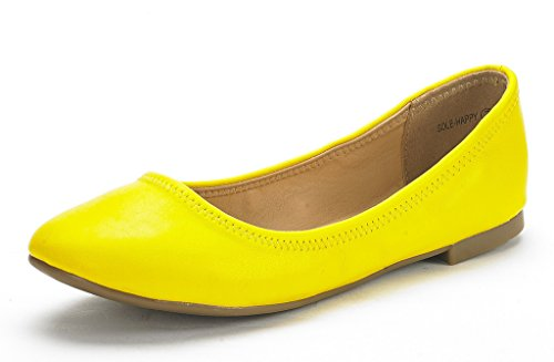 DREAM PAIRS Damen Sole Happy Ballerina Walking Wohnungen Schuhe Gelb