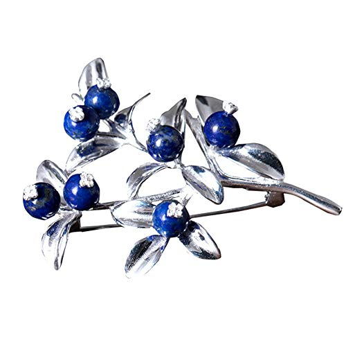 Elegant Brooch Enamel Natural Lapis Lazuli 925 Sterling Silver Pin Blueberry Branch Design Jewelry for Birthday, Silver