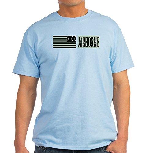 CafePress U.S. Military: Airborne (Blac T-Shirt 100% Cotton T-Shirt Light Blue