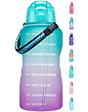 Fidus Large 1 Gallon Motivational Water Bottle with Paracord Handle & Removable Straw - BPA Free Leakproof Water Jug with Time Marker to Ensure You Drink Enough Water Throughout The Day