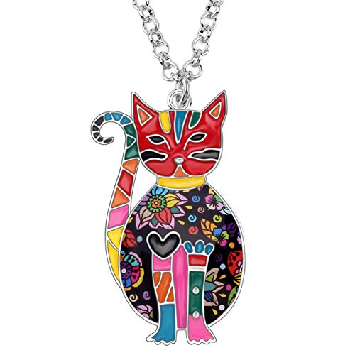 Bonsny Enamel Alloy Floral Kitten Cat Necklace Chain Pendant Fashion Jewelry for Women Girl Charm Gift (Multicolor)