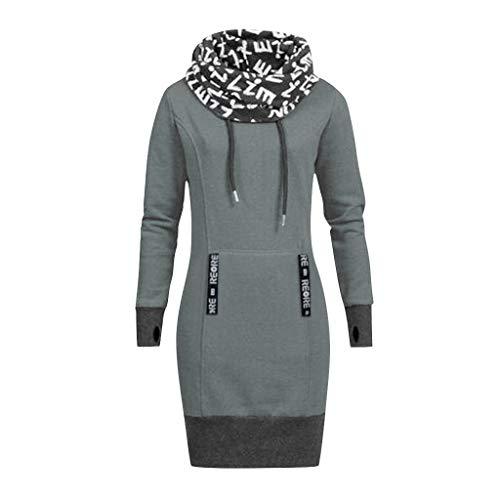 TnaIolral Women Dresses Long Sleeve Letter Print Collar Hooded Skirt Gray ()
