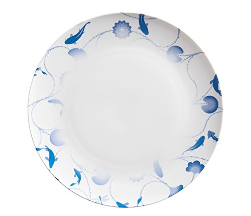 - ZENS lifestyle Dinner Plates Serving Platters Bone China 12 Inches White Dinnerware with Lotus and Fish Gradient Pattern