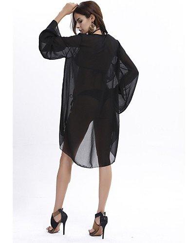 PU&PU Robe Aux femmes Ample Sexy,Couleur Pleine V Profond Asymétrique Polyester , black-one-size , black-one-size
