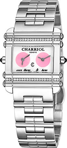 (Charriol Actor Womens Stainless Steel Diamond Watch - Mother of Pearl Face Ladies Watch with Dual Time Zones and Sapphire Crystal - Swiss Made Quartz Rectangular Watch for Women CCHDTD1.110.HDT02)