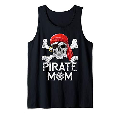 Pirate Mom Jolly Roger Women Mothers Day Tee Family Matching Tank Top