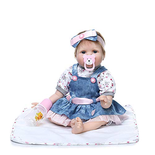 Birdfly Reborn Toddler Baby Doll Artificial Girl 22 Inch Vinyl Silicone Lifelike Toy with Wear Clothes and Suction Nozzle (multicolor)