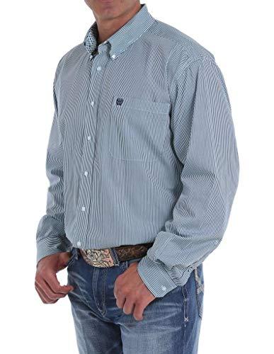 Cinch Men's Tencel Striped Long Sleeve Western Shirt Light Blue XX-Large