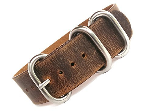 time+ 20mm 3-ring NATO ZULU Leather Military Watch Strap Vintage (Time Brown Leather)