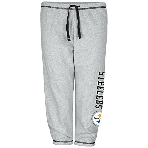 NFL Team Apparel NFL Pittsburgh Steelers Women Lt Weight Fleece Pant W/Topstitch Trim Outside Ds W/M Logo Down Leg, Heathergrey, 3X -