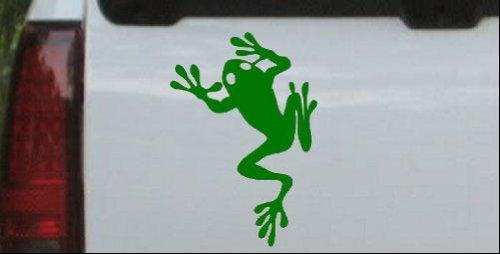 Frog Animals Car Window Wall Laptop Decal Sticker -- Dark Green 3in X 4.3in