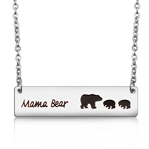 Mama 1 Pendant (MAOFAED Sweet Mama Bear Necklace Mother`s Day Gift for Mom Grandma Wife Godmother Necklace (Mama bear necklace with 2 cubs))
