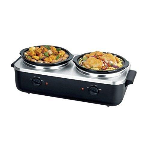 NutriChef PKBFWM26 Dual Pot Electric Slow Cooker Food Warmer/Buffet Warming Server, Steel by NutriChef