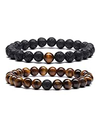 MengPa Mens 8mm Lava Stone Rock Bracelet for Women Aromatherapy Anxiety Essential Oil Diffuser Couples Bangle