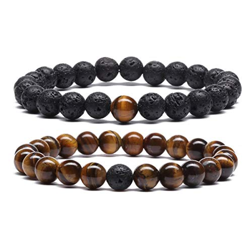 Mens Tiger Eye Lava Rock Stones Bracelet for Women Aromatherapy Anxiety Essential Oil Diffuser Bead Couples Bracelets G4163F