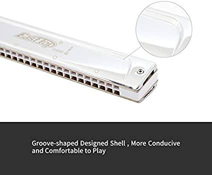 Long Service Life for Music Enthusiast Music Metal Harmonica Good Water Resistance Accurate Tolerance Ratio 24 Hole Tremolo Harmonica Golden, F# tune