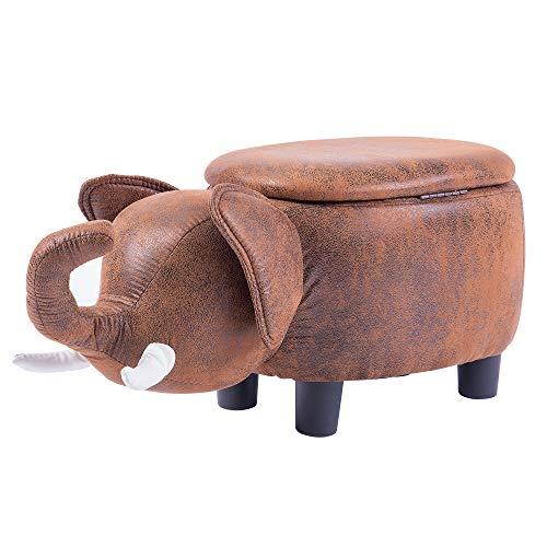 - Merax PP188383DAA Funfair Series, Upholstered Ride-on Storage Ottoman Footrest Stool with Vivid Adorable Animal Shape (Brown Elephant),