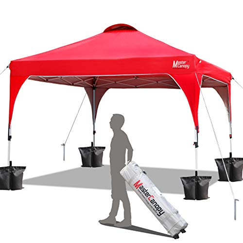 MASTERCANOPY Patio Pop Up Instant shelter 10x10 Beach Canopy Better Air Circulation Canopy with Wheeled Backpack Carry Bag (New red)