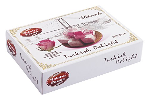 Malatya Pazari Turkish Delight with Rose & Sweet Confectionery Gourmet Candy Dessert Taste the Unique FRAGRANT and Premium Quality, Nutsmine ( 200 GRAM ) (Mixed Sweet Rose)