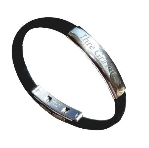 Schildarmband aus Edelstahl und Kautschuk - Armband, Armkette, Armreif, Armschmuck fü Sie und Ihn mit Gravurplattte incl. Gravur