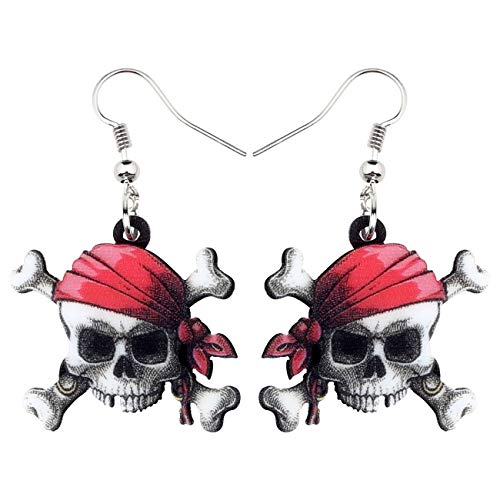 NEWEI Acrylic Halloween Sweet Pirate Skull Earrings Drop Dangle Fashion Charms Jewelry for Women Girls Gift