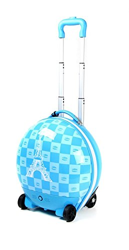 Kids Luggage RC Remote Control Walking Suitcase Compact Blue Eiffel Tower Designed for Children - Perfect for Toddlers and Kids Traveling
