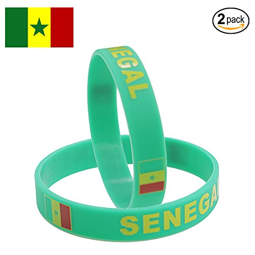 IDL World Cup Silicone Wristband, 2018 Russian World Cup Sports, Flag Bracelet | 2-Piece Set | 32 Countries Available | Unisex Design, Soft and Durable Wristbands, Non-Toxic (SENEGAL)